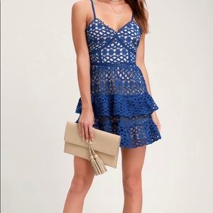 New Lulus Blue Lace Mini Dress